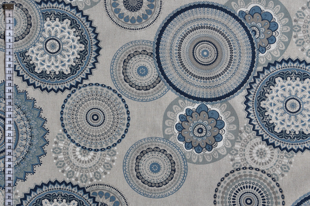 Blue Mandala Fabric on a Light Beige Background. Linen-look Fabric.