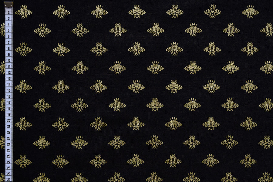Contemporary Bees Fabric - Gold Bees on a Black Background.