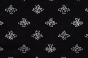 Contemporary Bees Fabric - Silver Bees on a Black Background.