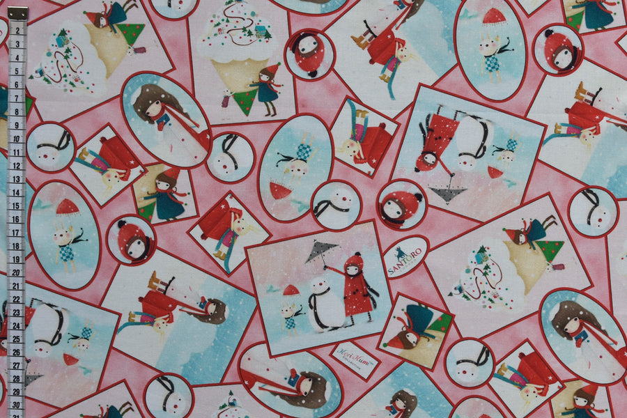 Kori Kumi Fabric from the Warm Wishes Collection by Santoro London. Bunny and Girl. Pink Background. 100% Cotton.