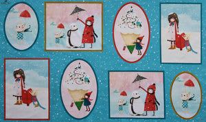 Kori Kumi Christmas Fabric - Warm Wishes Picture Panel. By Santoro London. Blue Background. 100% Cotton.