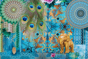 Golden Elephant and Peacock Feathered Fabric - Vibrant Digital Print