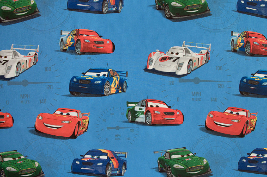 Disney Pixar Cars Fabric, Blue background with Lightning McQueen