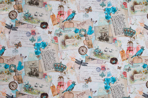 Vintage postcards and blue bird fabric