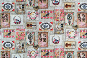 Vintage themed fabric with birds and violins