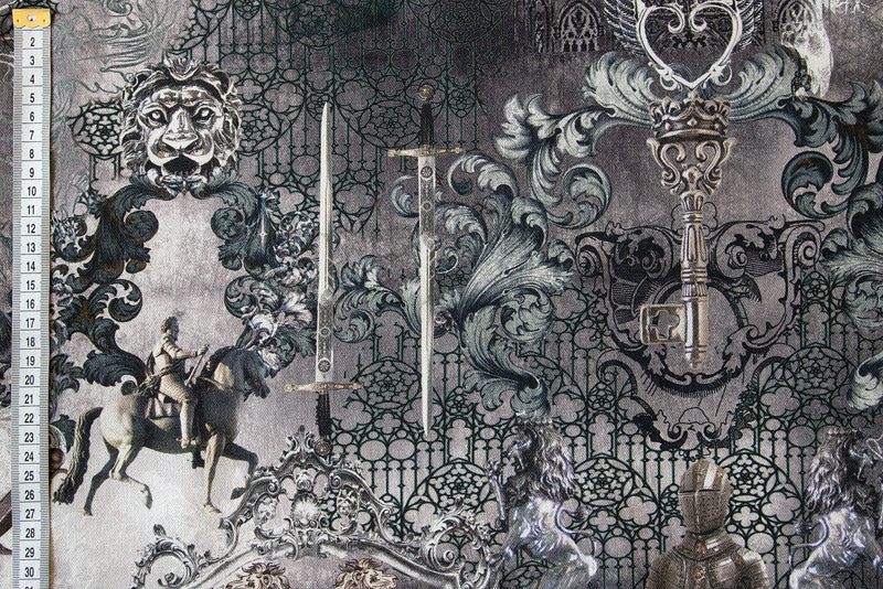 Gothic & Knights Fabric - Greys and Silver, Digitally Printed