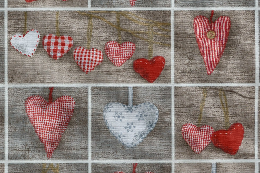Christmas Hearts Fabric - Red & White