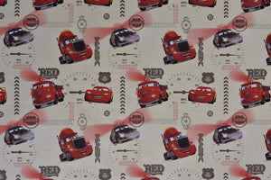 Disney Pixar Cars Fabric - Red Mack, Cream Background