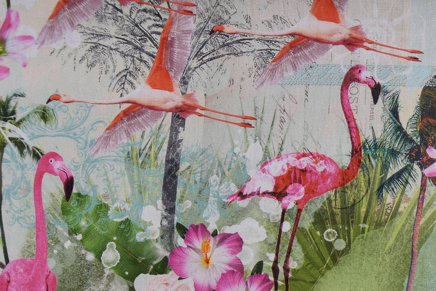 Pink Flamingos, Tropical, Pineapple Fabric