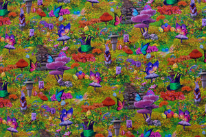 No Alice in Wonderland Fabric - Psychedelic Green