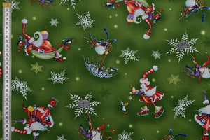More Merriment Christmas Green Fabric - Santa Fun