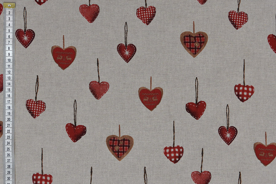 Christmas Red Hearts Fabric