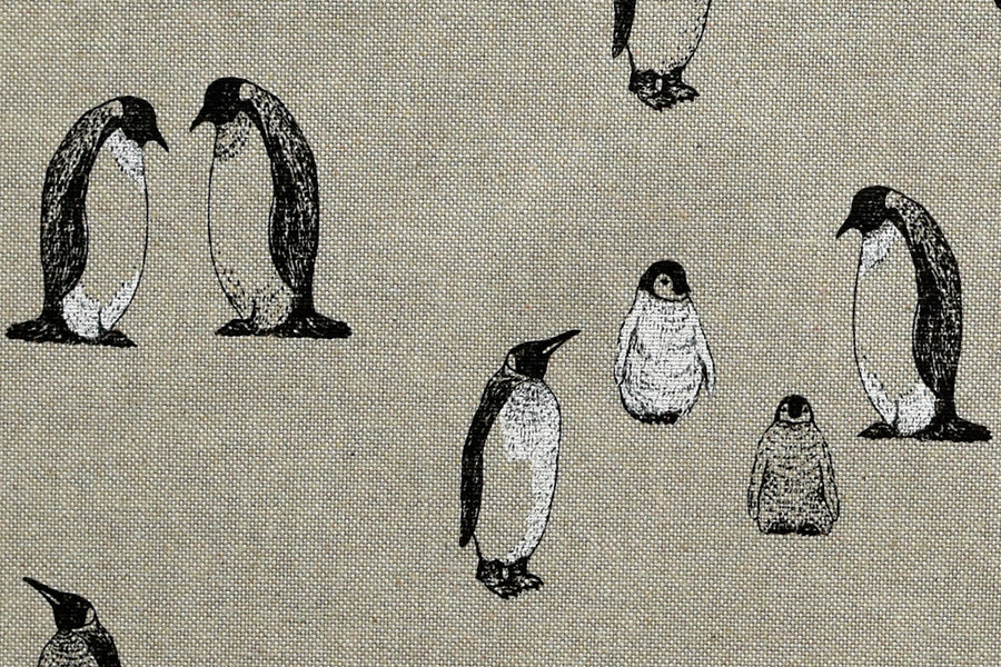 Lifelike Penguins Fabric - Winter/Christmas Design, Beige Background, Mixed Cotton.