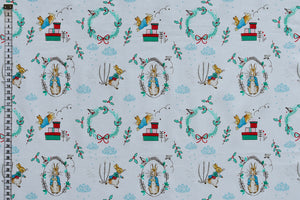 Peter Rabbit Fabric - Christmas Wreath.  Delightful Christmas Design. 100% Cotton.
