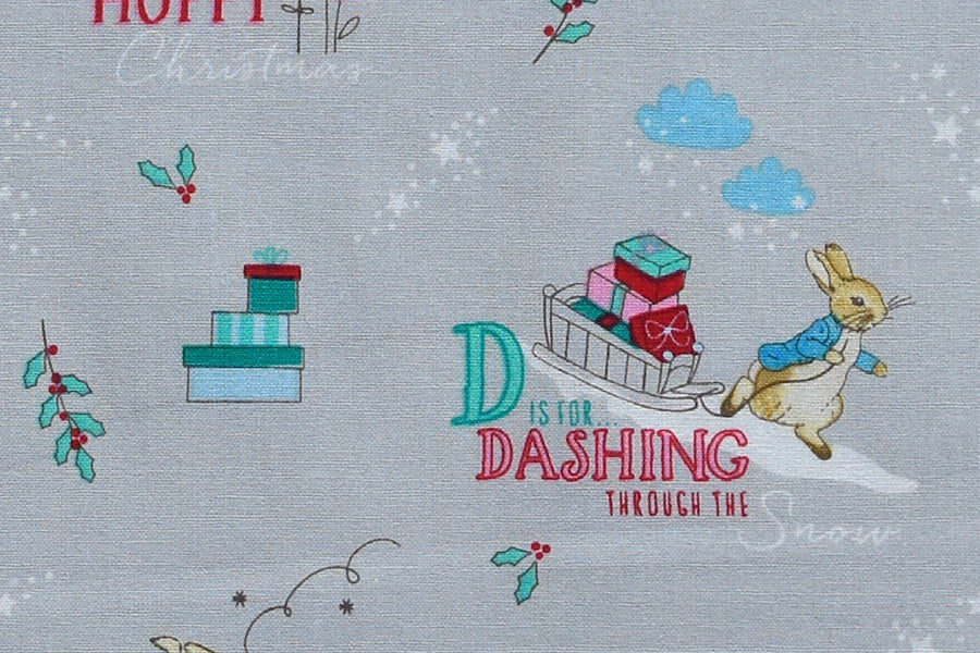 Peter Rabbit Fabric - Dashing through the Snow. Delightful Christmas Design. 100% Cotton.