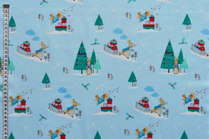 Peter Rabbit Fabric - Christmas Time. Delightful Christmas Design. Blue Background.100% Cotton.
