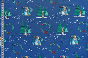 Peter Rabbit Fabric - Christmas Love. Delightful Christmas Design. Blue Background.100% Cotton.