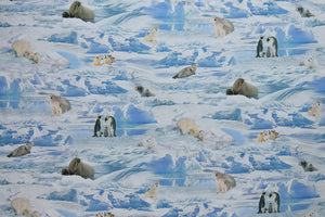 Stunning Arctic Snow Life Fabric - Polar Bears, Arctic Wolf, Walrus, Penguins and Seals. Lifelike images and digitally printed. 100% cotton.