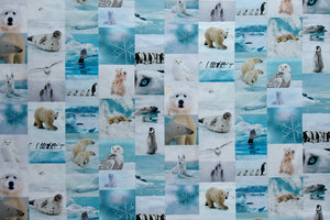 Stunning Arctic Wildlife Fabric - Polar Bears, Arctic Wolf, Walrus, Penguins, Snow Owl, Whale and Seals. Lifelike images and digitally printed. 100% cotton.