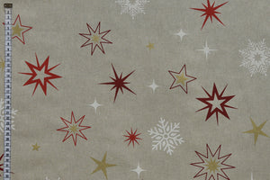 Christmas Stars Fabric - Red, Gold and White with White Snowflakes on a Beige Background.