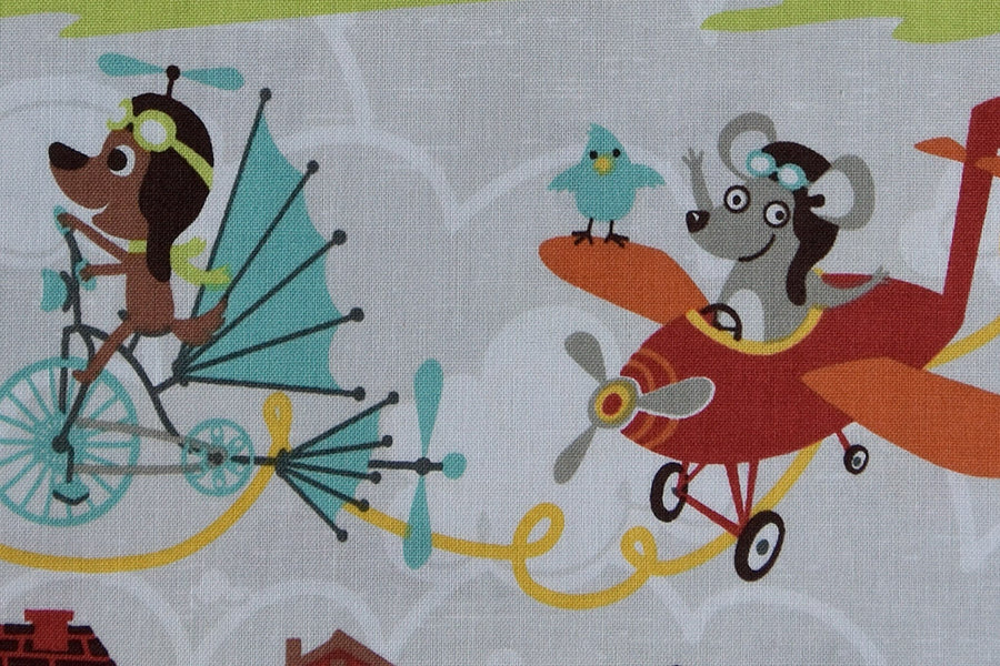 Little Flyers Fabric by Riley Blake. Animals in Flight. Dogs & Raccoons