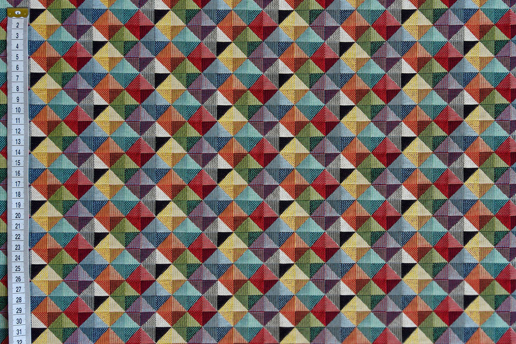 Woven Geometric Diamond Fabric, multicoloured heavy upholstery fabric