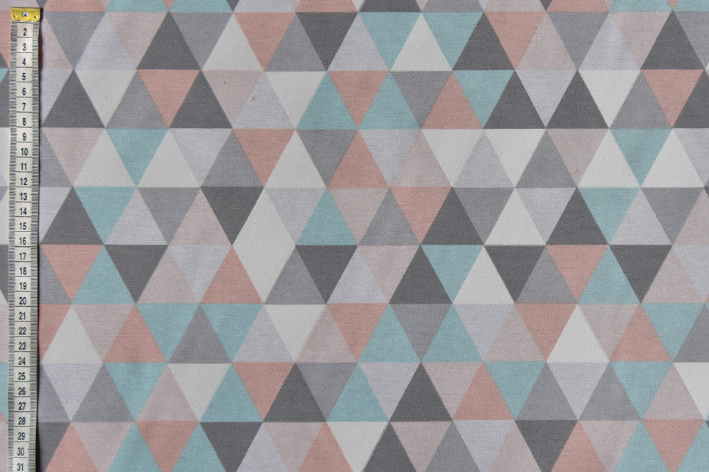 Geometric pastel triangle printed fabric