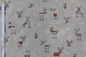 Fun Reindeer Sketches Christmas Fabric. Childrens, Cushions, Tablecloths, Crafts