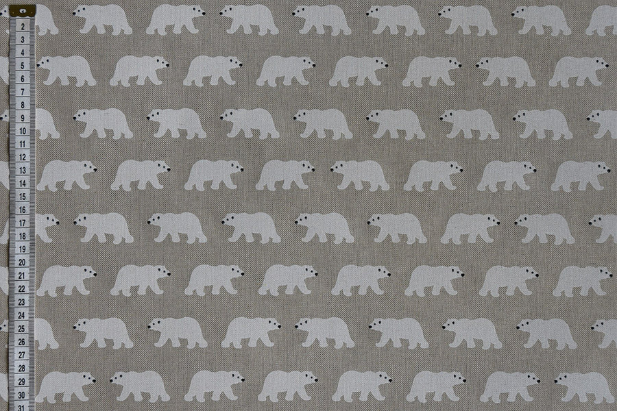 Cute Polar Bear fabric - White on a natural colour background