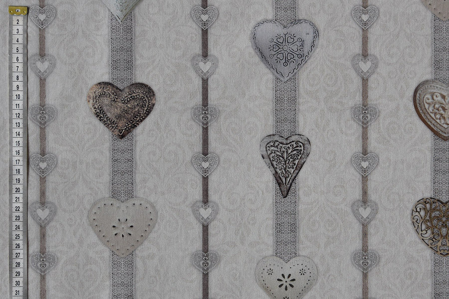 Ribboned Heart Fabric - Greys, White & Silver