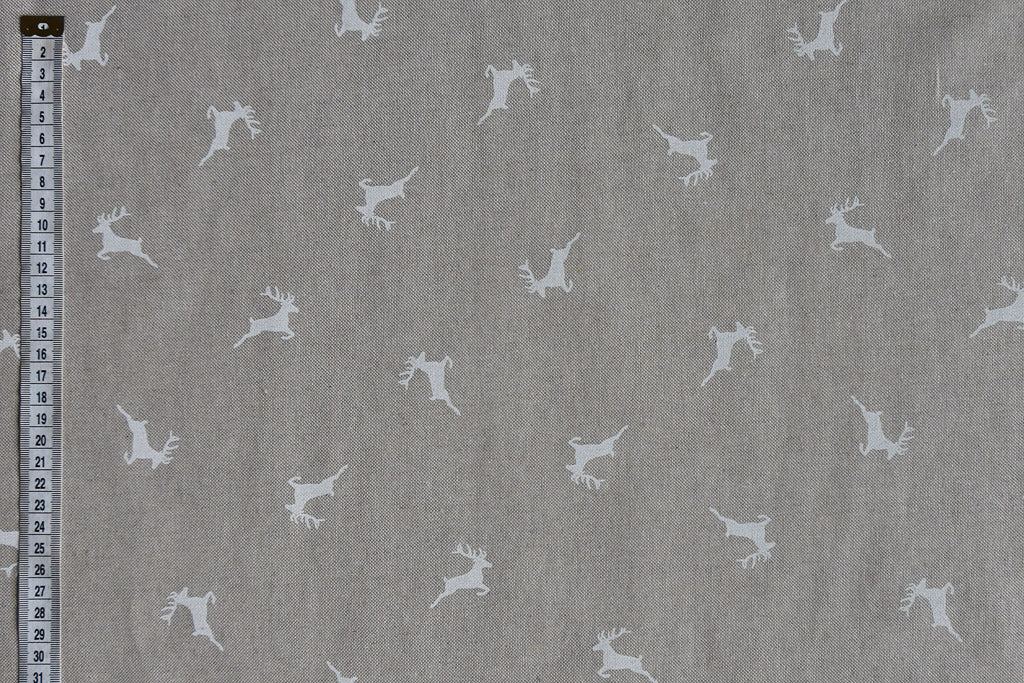 Elegant & Contemporary White Reindeer Christmas Fabric