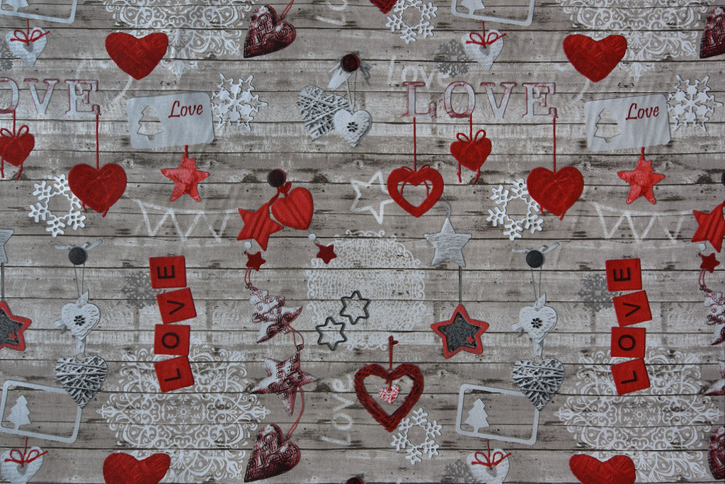 Christmas Love Fabric - Christmas tree decorations, Hearts & Stars