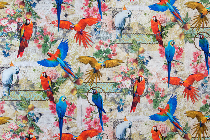 Bold and Beautiful Parrots Fabric - Vintage Looking Background