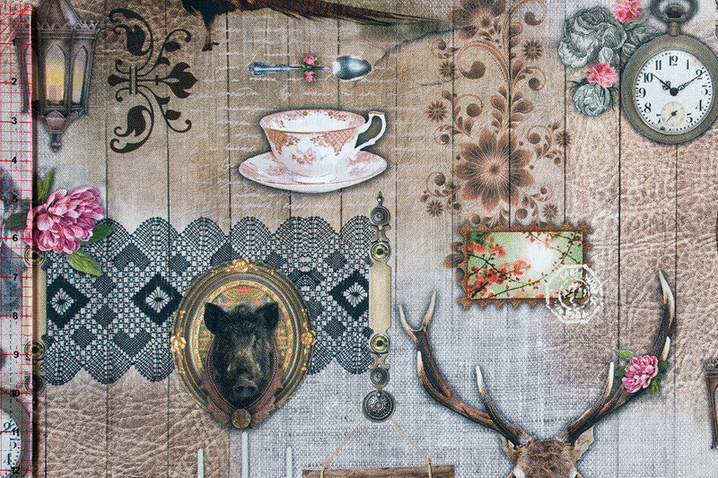 Vintage rustic designed fabric with pheasants and oddities