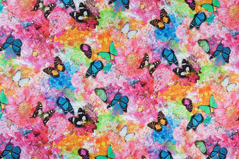 Bright multicoloured butterfly fabric