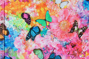 Brightly coloured butterfly fabric