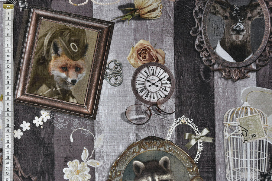 Vintage Themed Animal Portraits Fabric - With lots of Beautiful Vintage Objects in the Background