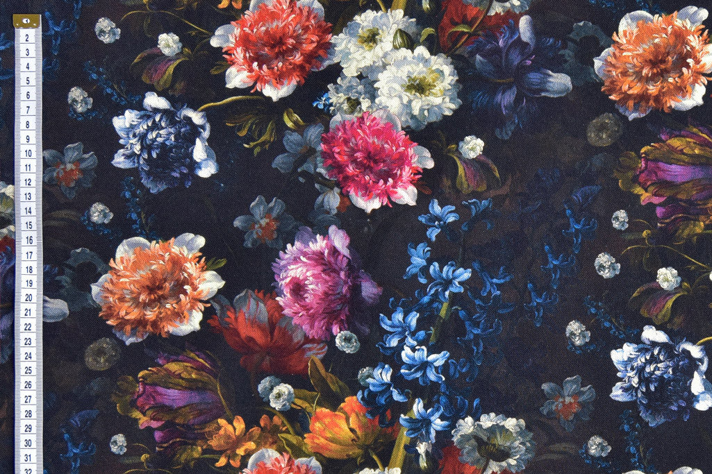 Bright flowers on black background fabric