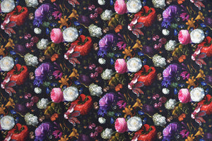 Peony flowers on a black background fabric