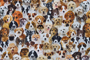 Lifelike Dogs & Puppies Fabric - Labradors, Beagles, Bulldog, Pug