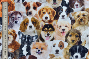 Lifelike Dogs & Puppies Fabric - Labradors, Beagles, Bull Dog