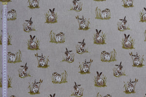 Hares Fabric - Hares/Rabbits in Grass, beige background, Linen feel fabric