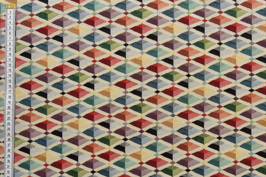 Multicoloured geometric diamond, pyramid, box design fabric