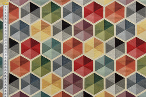 Geometric Large Hexagon Designed Upholstery Fabric