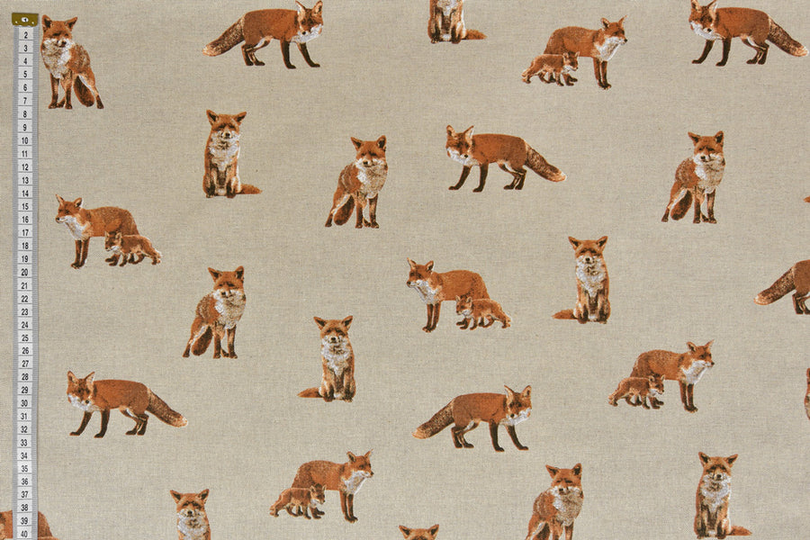 Lifelike Foxes with Fox Cubs Fabric - Upholstery & Craft