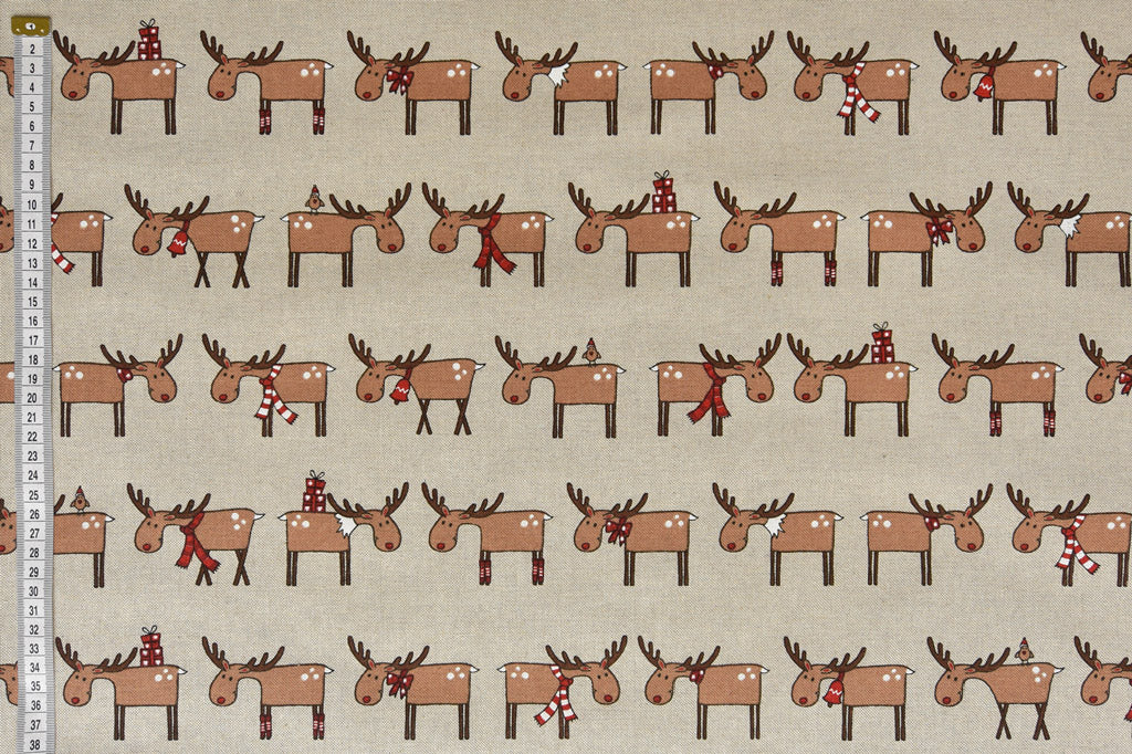 Fun Rudolph the Reindeer Christmas Fabric, Linen Feel, Cushion & Craft Fabric