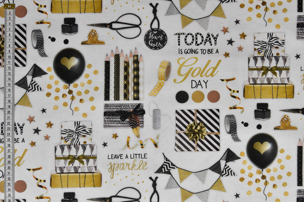 Black & Gold Party Fabric - With Balloons and Bunting