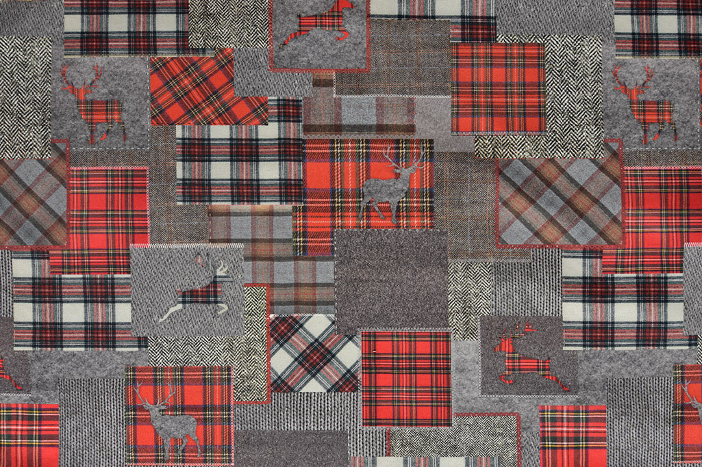 Patchwork Tartan Stag Fabric - Grey & Red