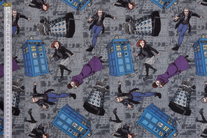 Doctor Who Fabric - Doctor, Tardis, Daleks & The Master