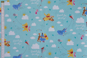 Winnie the Pooh Fabric - Flying Kites with Tigger, Eeyore & Piglet